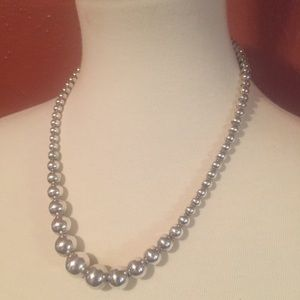 Vintage Sterling Silver Graduated Bead Necklace